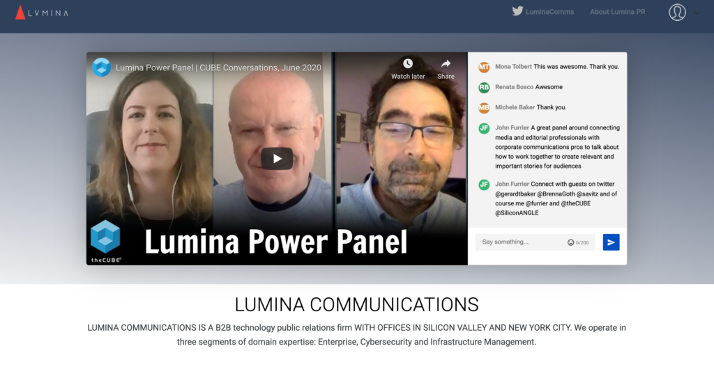 LuminaPR Webinar Speaker Panel